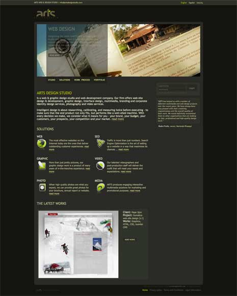 Screenshot of Arts Design Studio website