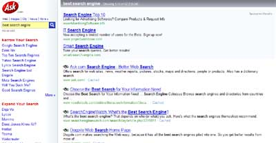 Top Ask result for best search engine