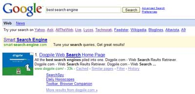 Top Google result for best search engine
