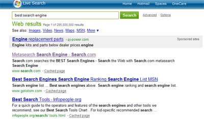 Top Live Search result for best search engine