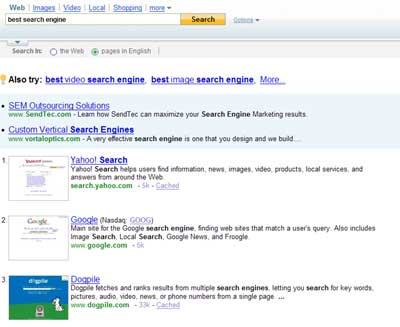 Top Yahoo result for best search engine