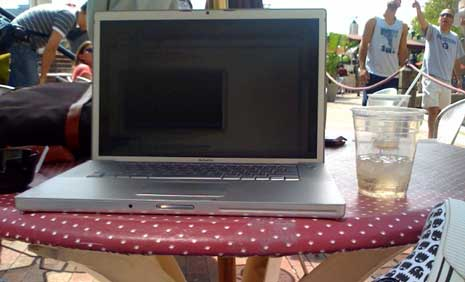 Laptop at a Cafe
