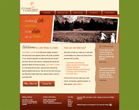Screenshot of Let's Make it a Date website