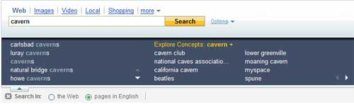 Yahoo Search Assist for the keyword cavern