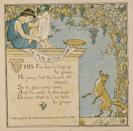 Illustration: The Fox and the Grapes by Walter Crane for the book The Baby's Own Aesop