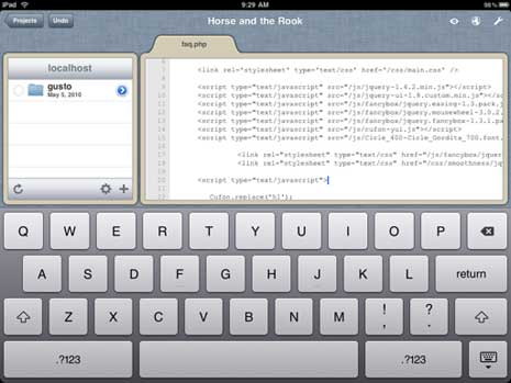 Gusto code editing app for iPad