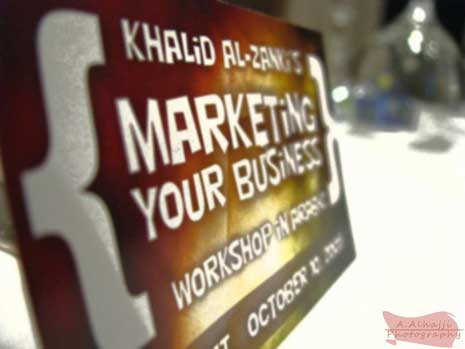 Sign for a marketing your business workshop