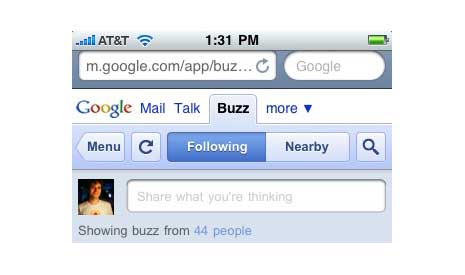 Google Buzz on an iPhone