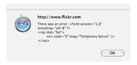 Flickr xml error