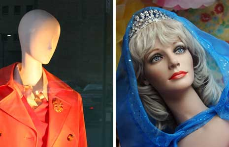 Abstract mannequin and realistic mannequin in the uncanny valley