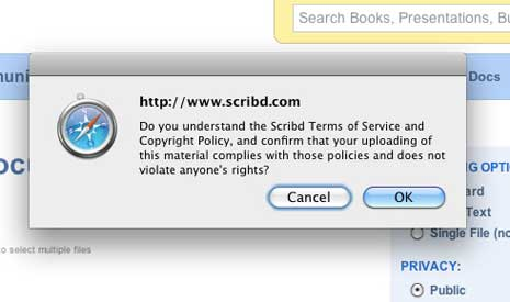 Scribd confirmation dialog