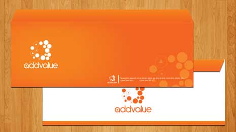 Envelopes from the cororate identy design for Add Value