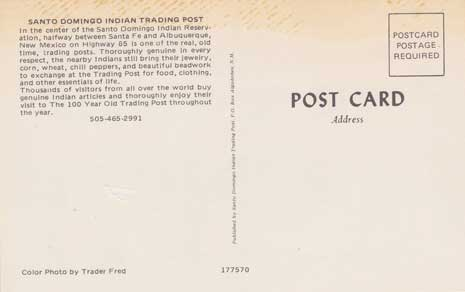 Santo Domingo Indian Trading Post (post card)