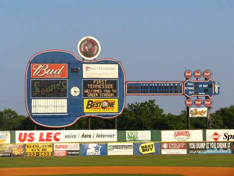 Advertising on the guitar scoreboard for the Nashville Sounds