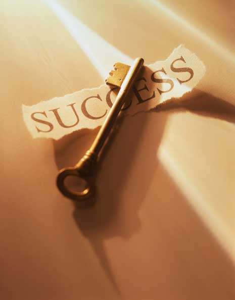Key over the word success