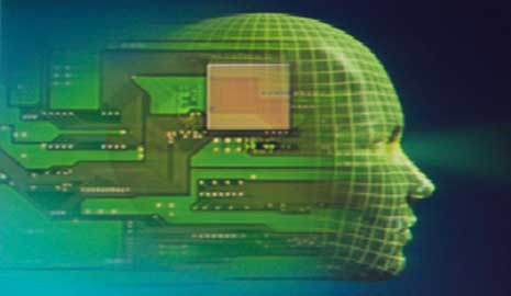 Graphic of a person's profile overlaid with computer chips