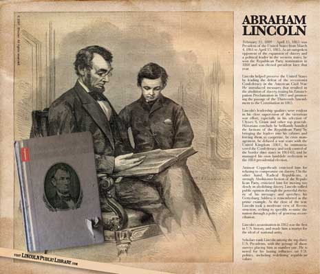 Abraham Lincoln reading to a boy
