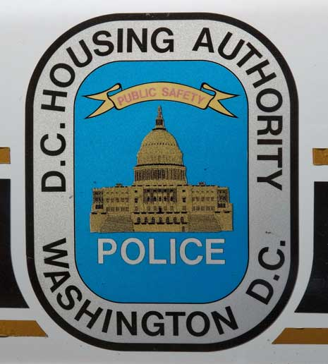 Detail from the side of a D.C. Housing Authority Police Department car