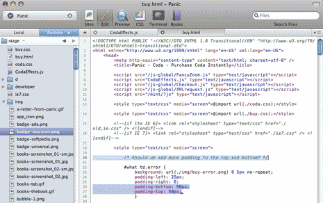 HTML in Coda code editor by Panic