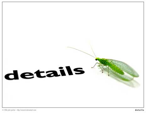 A green fly next to the word 'details'