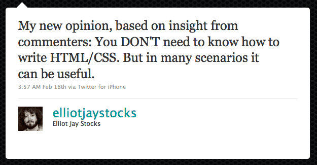 Tweet from Elliot Jay Stocks