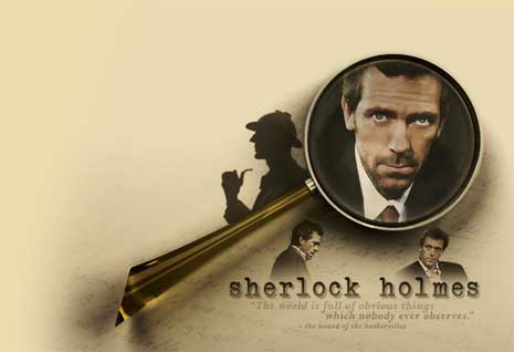 Advertisement for Sherlock Holmes imagining Hugh Laurie in the starring role