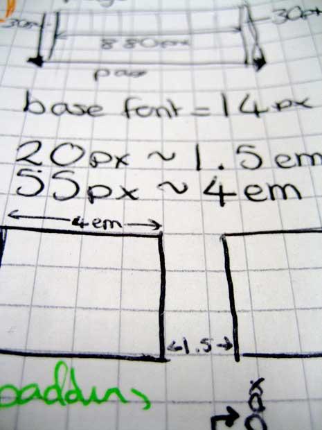 Closeup of a wireframe sketch