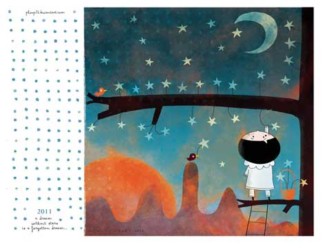 2011 calendar with illustration of girl looking up at the moon and stars
