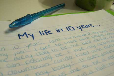 Journal entry with title 'My life in 10 years'