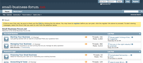 Screen shot of the small-business-forum.net home page