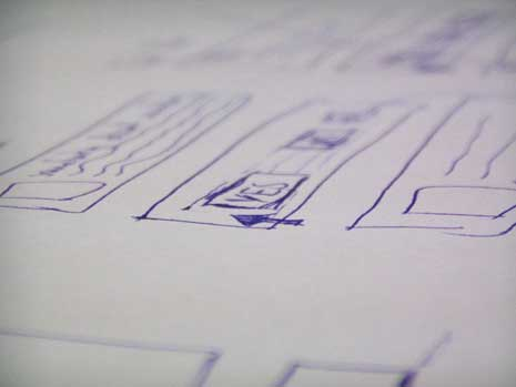 Closeup of  wireframe sketch