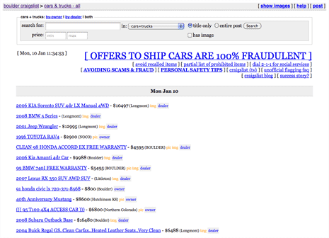 Listing of cars for sale on Craigslist