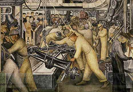 Diego Rivera painting showing a factory asembly line