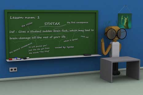 Digital image of teaching syntax on a blackboard
