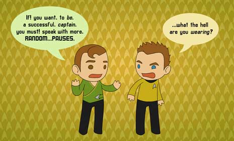 Cartoon of William Shatner giving himself acting advice. Must…add…random…pauses
