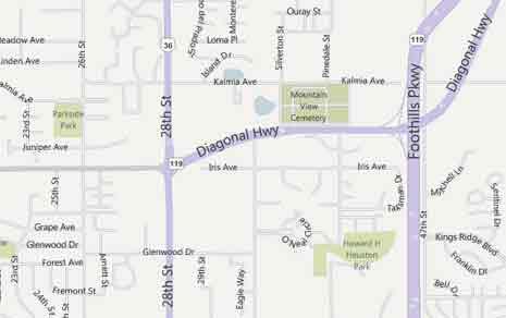Map detail of Boulder, Colorado