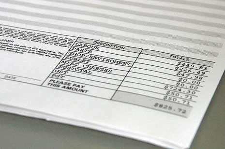 Summary section of an invoice