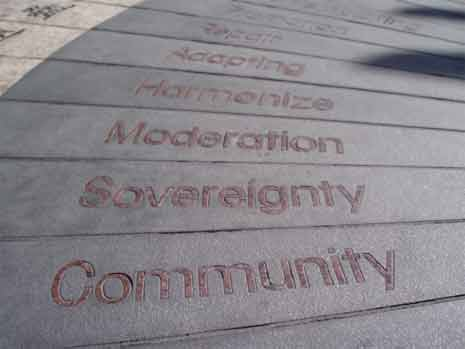 Concrete in Chinatown with word community