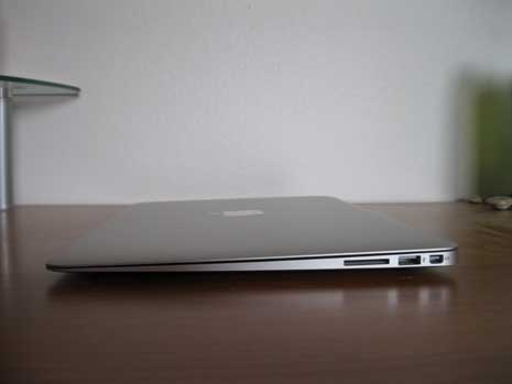 MacBook Air closed and seen from side