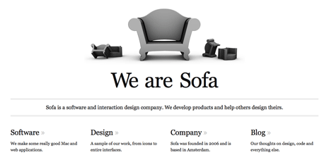 Screenshot of 'We Are Sofa' home page