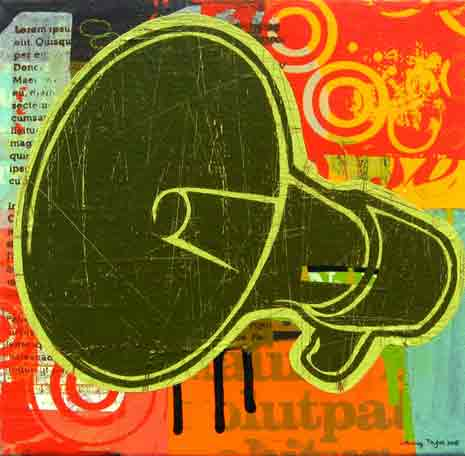 Abstract painting with megaphone as main subject