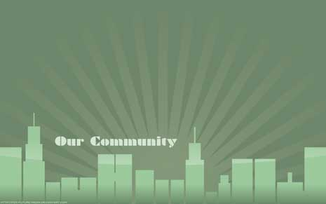 Desktop wallpaper: Citscape with words 'Our community'