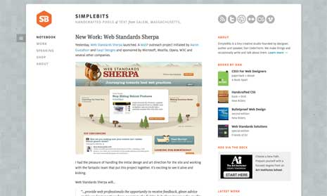 Screenshot of 'Simple Bits' home page