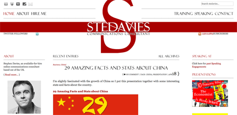Screenshot of 'Stephen Davies' home page