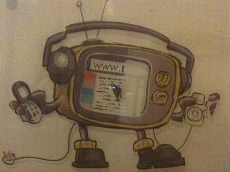 Cartoon image of a variety of multimedia devices