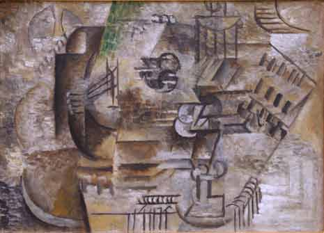 Pablo Picasso - Mandolin and a Glass of Pernod (1911)
