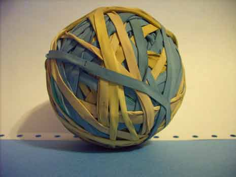 Ball of yellow and blue rubber bands