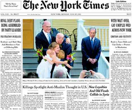 Image of the New York Times print edition