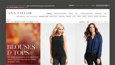 Screenshot from Ann Taylor site