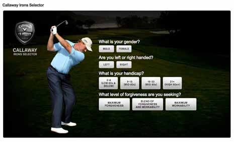 Interactive application from Calloway Golf site to help you choose a perfect golf club for you